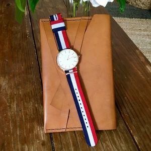 NWOT Red White Blue Stripe Rose Gold Quartz Watch